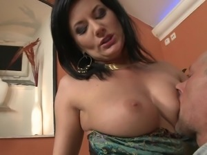 Busty Brunette In Nylons Gets Cum In Mouth After Taking Cock In Pussy