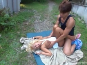 Buxom Japanese blonde fucked outdoors by his hard cock
