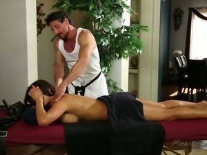 Hot like hell Asian MILF August Taylor let her brutal rubber play with her...
