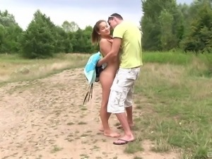 Girl caught skinny dipping in a lake ends up fucking on the bank