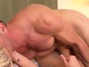 Busty blonde shemale Aubrey Kate sucked by and ass fucks guy