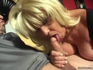 Big titted smoking granny sucks hard cock