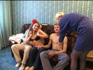 Super cute honies round off a scintillating foursome with blowjob