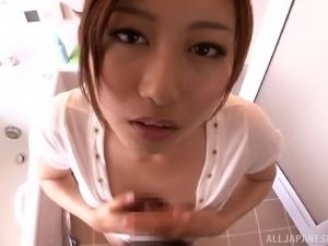 Asian babe Natsume nagaw gives blowjob and gets small tits fondled