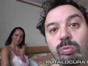 Big boobed young sweetie rides hard cock of mature Spanish stud
