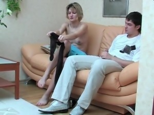 Russian Blonde in black Pantyhose Footjob and Fucking