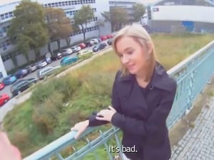 Blonde cutie is tricked into outdoor sex filmed on spy camera glasses