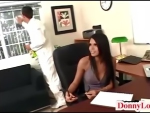 Donny Long gives cute super hot huge tit secretary her first