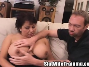 Huge breasted milf Susie gets banged hard and tastes her huge creampie