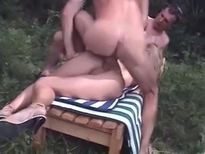 Tiny french MILF outdoor double penetration