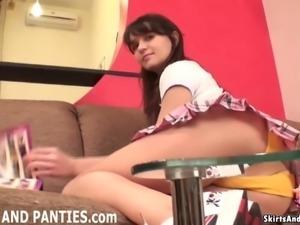 Enjoy peeking at my panties while I tidy up