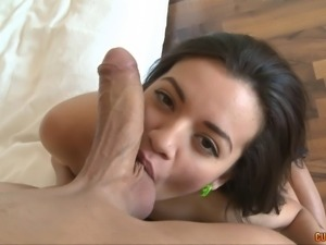 Brunette takes the cock deep inside her beautiful shaved pussy
