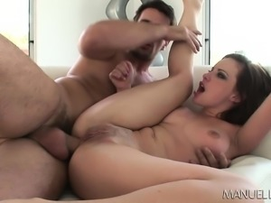 Foxy brunette gets a big dildo in her ass and then a large throbbing pole