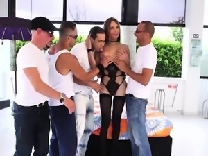 Adorable blonde shemale Sofia Obregon gets gangbanged hard