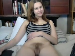 Favourite hairy girl gets her tits out