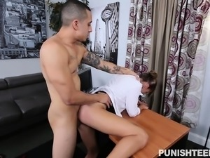 Sexy slim brunette secretary getting banged by her boss in the office