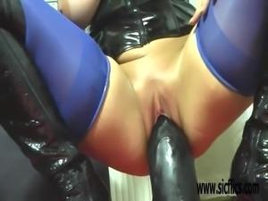 Extreme milf fucking a colossal dildo