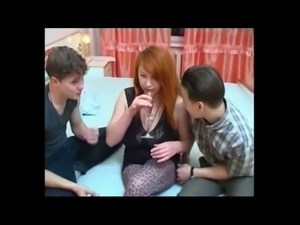 Busty Redhead Milf with Two Youngs BVR