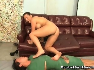 Stacked beauty with sexy legs reveals her great ballbusting abilities