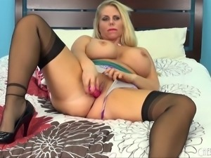 Intriguing blonde with large tits in the amazing solo masturbation