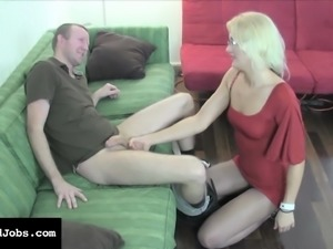 Elegant blonde in a tight red dress JC Simpson jacks off a hard pole
