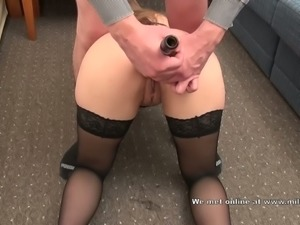 Gaping my wife's loose butthole with a bottle before having sex