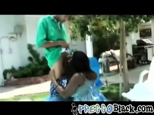Pregnant ebony is having fun getting dicked down by the pool