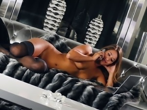 Solo model with long hair in stockings getting erotic lovely