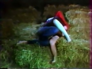 Blonde chick gives head in the barn and fucks in doggy style