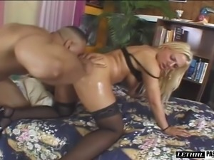 Blonde banging on big black cock hardcore in interracial porn