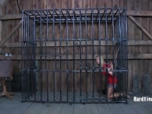 Blonde in bondage withstanding rough torture indoors