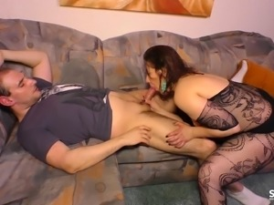 Chubby senorita wants to ride that cock right there on the couch