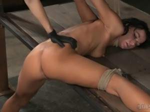 Kinky raven-haired bint gets pleasured by her hot blonde master