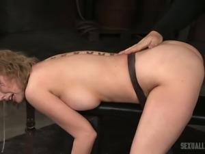 Hot and sassy blonde housewife double teamed in BDSM style