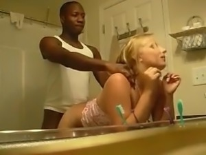 blond fucked over sink by black guy