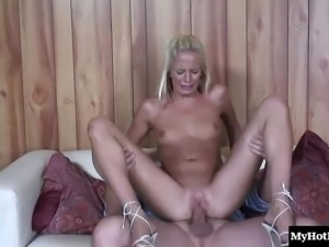 Saucy blonde honey Eden Adams rides on a long meat pole