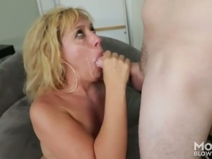 Experienced blond haired tramp Stevie Lix blows hard penis of her buddy with...