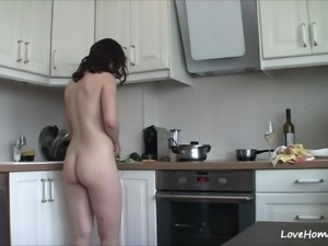 Getting nude in the kitchen makes her happy!