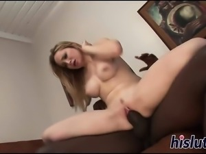 Blonde bitch rides a monster black dick