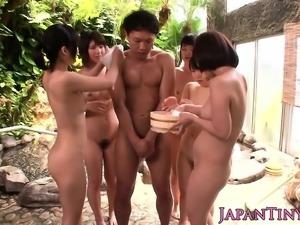 Outdoor bathing Japanese ladies enjoying cock