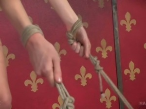 Freaky BDSM master gives hard core fuck lesson to skinny tightly bound bitch...