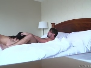 Raven haired kinky housewife Samia Duarte got her muff nailed in sideways and...