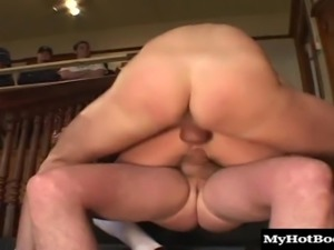 Insatiable ginger slut Audrey Hollander pleasures two massive rods