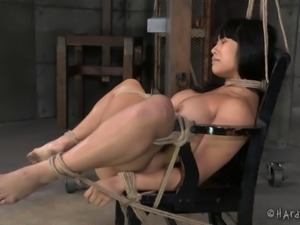 Playing with Mia's sweet beaver while she's tied up and helpless