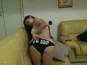 Busty asian teen amazing sex on the sofa at home