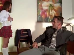 BDSM. Dean punishes teen schoolgirl skirt Gloria A in the ass