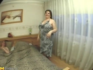 Curvy BBW big tits fondled when riding huge dick hardcore