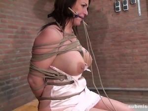 big boobed brunette milf tortured in the dungeon