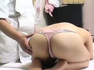 Lustful Asian girl with perky boobs has a masseur caressing