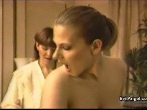 Dainty brunette giving deepthroat blowjob in ffm threesome